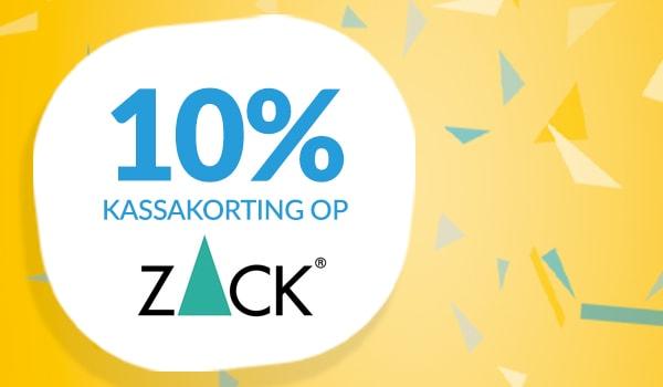 10% kassakorting op Zack
