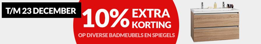 10% korting op badmeubels en spiegels